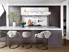 A Calgary home that features the year's hottest trends Kitchen- ? About sink across from stove - Add Modern To Your Life Home Kitchens, Contemporary Kitchen, Kitchen Remodel, Kitchen Design, Interior, Home Decor Kitchen, Kitchen Interior, Home Decor, Modern Kitchen Design