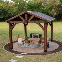 Patio Pergola, Backyard Pavilion, Backyard Gazebo, Pergola Swing, Deck With Pergola, Backyard Patio Designs, Backyard Landscaping, Pergola Ideas, Modern Pergola