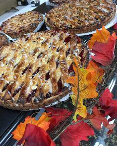 FALL season here at #sweetp !!  looooookin' good  #fall #fallseason #seasons #leaves #october #wheressummer #why #linzertorte #strawberry #pumpkin #sweets #dessert #bakery #bake #pie #torte