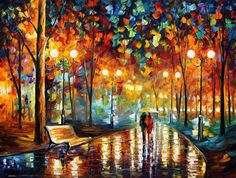 "RAIN'S RUSTLE — PALETTE KNIFE Oil Painting On Canvas By Leonid Afremov - Size 30""x40"""