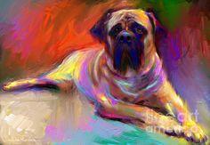 Impressionistic Bull mastiff Dog painting portrait by Svetlana Novikova, www.SvetlanaNovikova.com