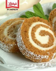 Packed with sweet cream cheese filling and sprinkled with powdered sugar, you can't go wrong with this delicious Pumpkin Roll recipe. Libby's Pumpkin, Pumpkin Dessert, Pumpkin Bread, Pumpkin Recipes, Fall Recipes, Holiday Recipes, Pumpkin Cheesecake Recipes, Canned Pumpkin, Christmas Recipes