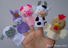Digital Pattern: Farm Friends Felt Finger Puppets by FloralBlossom Felt Puppets, Felt Finger Puppets, Felt Diy, Felt Crafts, Crafts For Kids, Sewing Crafts, Sewing Projects, Finger Puppet Patterns, Operation Christmas Child