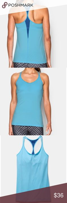 Under Armour Studio Tank Blue Under Armour HeatGear fitted racer back tank top with built-in bra.                                              MAKE AN OFFER! Under Armour Tops Tank Tops