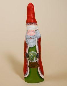 Santa Claus Cypress Knee Figurine with Snow Globe