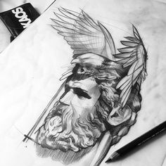 Zeus #sketch #tattoo #dövme #berlin #istanbul #blackwhite #ink #btattooing…
