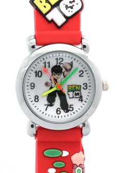 Ben 10 Toy Line Round Dial Red Rubber Strap Kids Watches. TimerMall OEM Cartoon Watches funky cartoon style watches with its cute styled character. Clear standard numbers and bright colours make this watch appealing and attention grabbing.