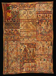 Africa | Sampler from Morocco | 19th century | Cotton, embroidered with silk in double running, back, cross, long-armed cross and satin stitch