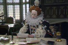 Glenda Jackson attired in a replica 'Armada' gown, as Elizabeth I, in 'Elizabeth R'.