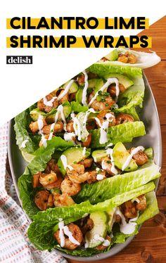Shrimp Wraps Cilantro Lime Shrimp Wraps are like low-carb tacos. Get the recipe at .Cilantro Lime Shrimp Wraps are like low-carb tacos. Get the recipe at . Shrimp Lettuce Wraps, Lettuce Wrap Recipes, Fish Recipes, Seafood Recipes, Mexican Food Recipes, Low Carb Recipes, Dinner Recipes, Cooking Recipes, Healthy Recipes