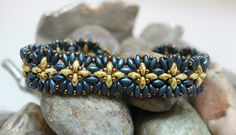 Beautiful Superduo Cuff Bracelet Embellished with Toho Seed Beads to Create a Flower Design SuperDuo Seed Beads ~ 2/5mm Indigo Orchid; 2/5mm
