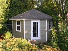Get detailed plans to build all manner of small buildings including sheds, gazebos, cabins, backyard studios. Small Wood Shed, Corner Sheds, Corner Door, Cheap Sheds, Build Your Own Shed, Backyard Studio, Shed Doors, Pool Cabana, Diy Shed Plans