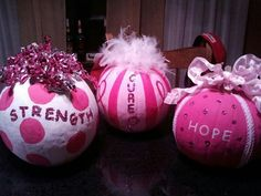 Could be used for a girl birthday party in the fall. Or blue pumpkins for a boy party. Breast Cancer Wreath, Breast Cancer Crafts, Breast Cancer Fundraiser, Pink Out, Pink Pumpkins, Painted Pumpkins, Pumkin Decoration, Decoration Party, Decorations