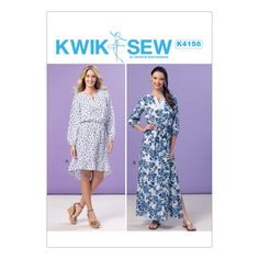 Kwik Sew K4156 Misses' Elastic-Waist Peasant Dresses & Sash