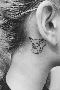 Cute Pikachu ear tattoos for women. This Pikachu tattoo is an unique tattoos for women. Nerdy Tattoos, Anime Tattoos, Body Art Tattoos, Cool Tattoos, Tatoos, Subtle Tattoos, Awesome Tattoos, Pikachu Tattoo, Pokeball Tattoo