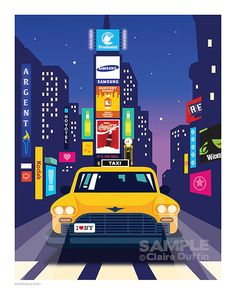 Time Square - New York Art Print Poster Illustration 8x10 on Etsy, Love Claire's style! Great landscape