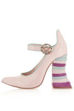 **Pink Rainbow Heel Mary Janes by Meadham Kirchhoff