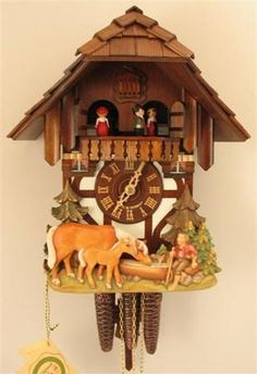 Chalet with Boy and Horses Cuckoo Clock. h1Chalet with Boy and Horses Cuckoo Clock_h1In a beautifully, hand-carved scene there is depicted a boy who has taken a moment to rest from his wander through the forest. While he stops by a well, a two horses join him fo.. . See More Cuckoo Clocks at http://www.ourgreatshop.com/Cuckoo-Clocks-C1122.aspx