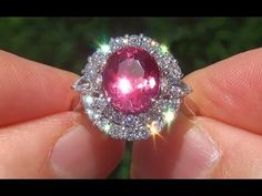 GIA Certified UNHEATED VS Padparadscha Sapphire Diamond 18k Gold Vintage Estate Ring - A135299 - YouTube