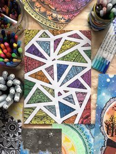 62 ideas zentangle art dibujos mandalas for 2019 Doodle Art Drawing, Cool Art Drawings, Zentangle Drawings, Mandala Drawing, Cartoon Drawings, Painting & Drawing, Zentangles, Zentangle Art Ideas, Mandala Doodle