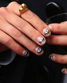 Evil eye nails, had this done on my toes once. Loved it! So fun. Alexa Chung, Mani Pedi, Pedicure, Hair And Nails, My Nails, Nail Art Designs, Fingernail Designs, Evil Eye Nails, Beauty Nails