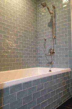 Daltile Subway Tile And Bathtub With Bathroom Fixture For Modern Bathroom Design - KitapU shared and photos Bath Tiles, Bathroom Floor Tiles, Bathroom Renos, Bathroom Fixtures, Bathroom Tubs, Bathroom Showers, Bathroom Ideas, Tile Around Bathtub, Bathroom Remodeling