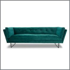 With a nod to mid-century design, the clean lines of the Manhattan Velvet Sofa provide a luxurious seating experience. Velvet Lounge, Velvet Sofa, Small Living Rooms, Living Spaces, Green Lounge, Interiors Online, White Sofas, 3 Seater Sofa