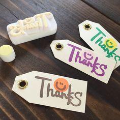 ハンドメイドマーケット minne(ミンネ)  【Thanks】*消しゴムはんこ*スタンプ Diy And Crafts, Arts And Crafts, Love Stamps, Stamp Making, Diy Toys, Gift Tags, Hand Carved, Projects To Try, Doodles