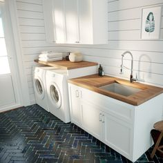 Pax™️ x Undermount Kitchen Sink herringbone tile floor, wood counters laundry room ideas small Pax™ Zero-Radius L x W Undermount Single Bowl Stainless Steel Kitchen Sink Mudroom Laundry Room, Laundry Room Remodel, Laundry Room Bathroom, Laundry Room Design, Kitchen Remodel, Laundry Room With Sink, Kitchen Sinks, Laundry In Kitchen, Modern Laundry Rooms