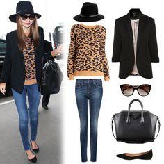 Rag & Bone Floppy Brim Fedora ($175), Topshop Ponte Rolled Sleeve Blazer ($70), Prada Oversized Cat's-Eye Sunglasses ($245), Givenchy Antigona Medium Satchel Bag ($2,405), Steve Madden Vegass Black Suede Flat ($80), Mango Premium Super Slim Jeans ($80), A.L.C. Leopard Sweater ($365)