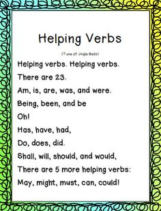 Helping Verbs Sign. That's really cute!