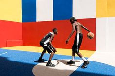 "Pigalle Duperré by Ill Studio. Founded in Ill-Studio is an ""art direction platform"" that has previously collaborated with brands including Louis Vuitton, Nike, Chanel and Adidas. Pigalle Basketball, Basketball Court, Basketball Design, Terrain Basket, Ill Studio, Nike Campaign, Des Baskets, Video Installation, Urban Architecture"