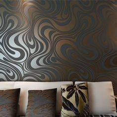 QIHANG Modern Luxury Abstract Curve Wallpaper Roll Mural Papel De Parede Flocking for Striped Black&brown Color 3d Wallpaper Roll, Cheap Wallpaper, Room Wallpaper, Colorful Wallpaper, Pattern Wallpaper, Beautiful Wallpaper, Striped Wallpaper Black, Living Room Background, Stair Decor