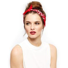 Red Printed Bandana (7.78 AUD) ❤ liked on Polyvore featuring accessories, hair accessories, hair, hair styles, red, red hair accessories, red bandana and red handkerchief