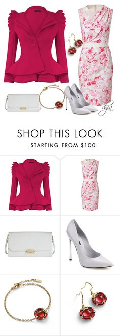 """Pink, Red and White"" by dgia ❤ liked on Polyvore featuring Giambattista Valli, ECCO, Casadei and Baccarat"