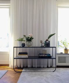 A Sleek Metal Frame that carries a Top Made of Oak or Limestone - The Versatile Tati Console, Desk, Drawer and Side Table Design by Broberg & Ridderstråle for Asplund Small Entryways, Desk With Drawers, Small Tables, Living Room, Interior Design, House, Dinning Table, Console Table, Stockholm