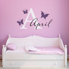 Girls Name Decal with Initial - Butterfly Wall Decal - Initial Girls Name Butterflies Decals - Large