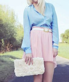 sky blue blouse & light pink skirt