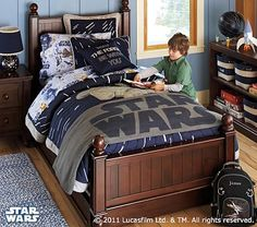 """We have been redecorating the boys room, a-la """"Star Wars"""". I was inspired by the new PBK Star Wars line. Inspiration Room I am trying to re. Decoration Star Wars, Kids Bedroom, Bedroom Decor, Bedroom Ideas, Bedroom Pics, Star Wars Bedroom, Star Wars Bedding, New Room, Furniture"""
