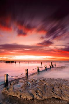 Sunrise at Mahon Pool, Maroubra Beach, Sydney NSW Australia.