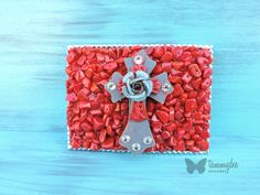 Red Buckle, Wood Cross Buckle, Red Bamboo Coral Belt Buckle, Rose Buckle, Rustic Belt Buckle, Red Beaded Belt Buckle, Boho Chic, tammydee