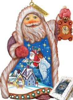 Derevo Santa Christmas Goose Ornament Figurine with Scenic Painting