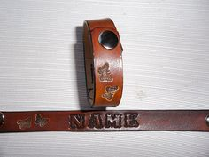 Handmade leather name bracelet with Tiny by Nothinglikeleather, $7.00
