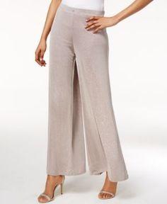 Msk Metallic Wide-Leg Pants - Tan/Beige XXL