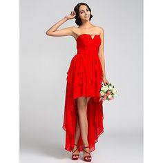 A-ligne bretelles robe de demoiselle d'honneur de mousseline de soie asymétrique (710803) – USD $ 79.19