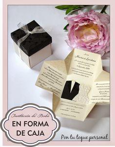 Invitación de boda original con forma de caja