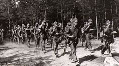 Swedish volunteers march in Finland during the Continuation War against the Soviet Union.