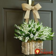 Spring wreath Lily Of The Valley wreaths front door wreaths Summer decorations wall decor wedding wreath birch bark vase Mother's day gifts - Arredamento estivo Summer Door Wreaths, Fall Wreaths, Wreaths For Front Door, Wedding Wall Decorations, Wedding Wreaths, Decor Wedding, Wedding Ribbons, Diy Decoration, Mothers Day Wreath