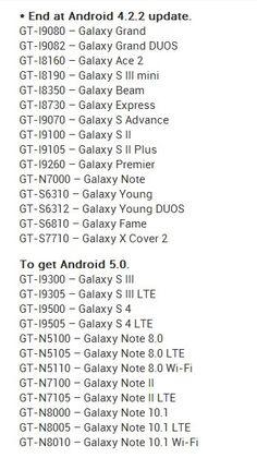 Android 4.2.2 ve Android 5.0 güncellemesi gelecek Samsung Galaxy serisi cihazlar