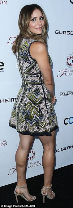 Songstress Katharine McPhee, 32, wore a patterned, A-line dress, which she paired with a set of sparkling, strappy heels